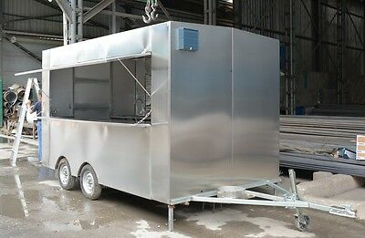 New! 3.5M Stainless Steel Concession Stand Trailer Mobile Kitchen Shipped By Sea