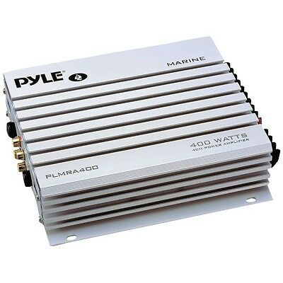Pyle 4 Channel 400 Watt Waterproof Marine Boat MP3 Car Power Amplifier (White)