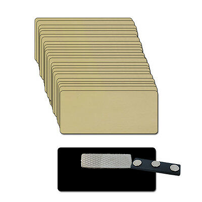25 BLANK 1 X 3 Gold Name Badge Kit (A) Tags 1/8