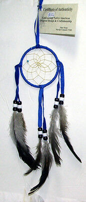 """Authentic Native American Dreamcatcher 3"""" hoop Royal Blue FREE SHIPPING #822"""