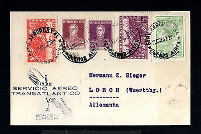 12810-ARGENTINA-AIRMAIL CONDOR ZEPPELIN POSTCARD B.AIRES to LORCH(germany)1932.