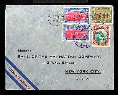 12837-GUATEMALA-AIRMAIL BANK COVER GUATEMALA to NEW YORK(usa) 1941.WWII.Aereo.