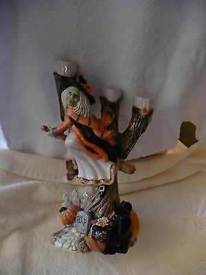 We- Fitz And Floyd Halloween Harvest (Witch Tree Candle Holder) Mib   #40189