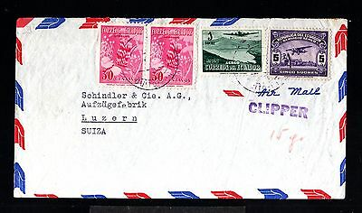 12814-ECUADOR-AIRMAIL clipper COVER QUITO to LUZERN (switzerland)1948.WWII.Aereo
