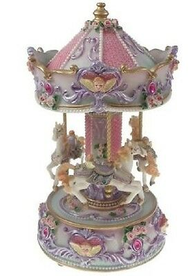 "Glossy  Musical Carousel  26Cms/ 10""  Plays ""bacharolle ""gift Present Bnib"