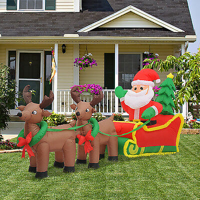 7FT Inflatable lit Christmas Santa in Sleigh & Reindeer Lawn Yard Holiday Decor