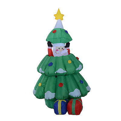 Large Inflatable Santa Claus Hidden into Xmas Tree Holiday Decoration In/Outdoor