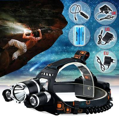 Rechargeable 6000LM CREE XM-L T6 3LED Headlamp Headlight Head Torch Flash Light