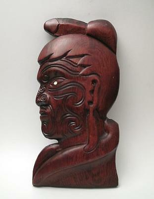 Vintage Hand Carved Wooden Maori Chief Warrior Wall Plaque Hanging New Zealand