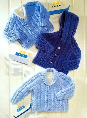 "Baby Cable Jackets V/Shawl Neck and Hooded 16"" - 26"" DK Knitting Pattern"
