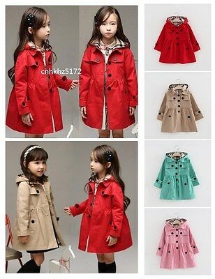 Baby Girls Kids Long sleeve Casual Dress Jacket Trench Coat Hooded Outerwear