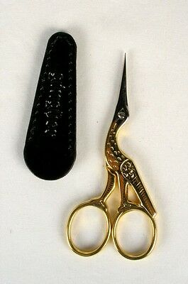 Gingher Stork Scissors with Leather Sheath for Needlepoint Embroidery Italy