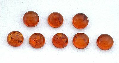 TWO 5mm Round Natural REAL Baltic Amber Cab Cabochon Gem Stone Gemstone EBS7646