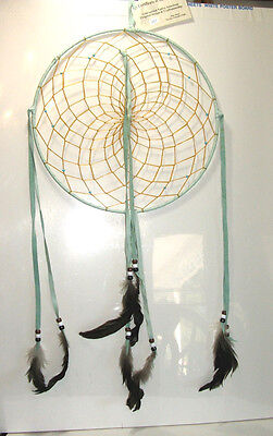 "Native American made Dreamcatcher Navajo Large 12"" dia Pale Green Leather #151"