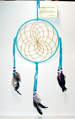 "8"" hoop Dreamcatcher Authentic Native American made Navajo Turquoise Blue #172"