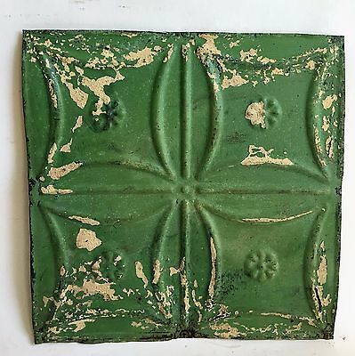 """12"""" x 12"""" Antique Tin Ceiling Tile *SEE OUR SALVAGE VIDEOS* Green C6 Metal"""