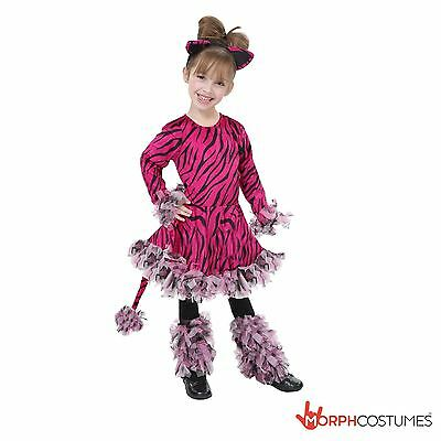 Girls Cute Pink Tiger Fancy Dress Costume Kids Jungle Animal Tigress Outfit