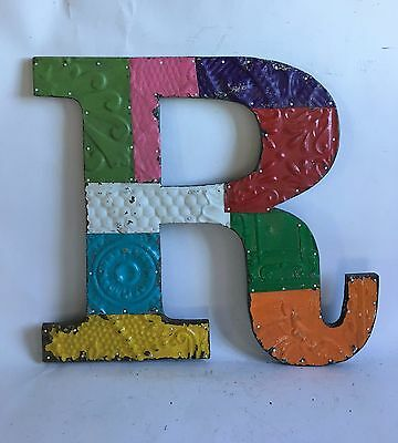 "Large Antique Tin Ceiling Wrapped 16"" Letter 'R' Patchwork Metal Multi Color A2"