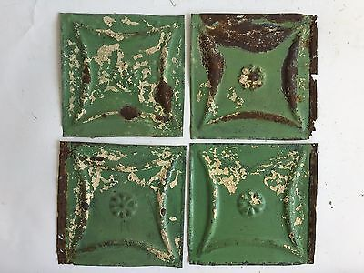 "1890's Reclaimed Antique Tin Ceiling Tiles 4- 6"" x 6"" Green Shabby B54 Metal"
