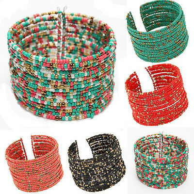 Women Bohemian Beaded Bangle Cuff Bracelet Multilayer Fashion Jewelry Xmas Gift