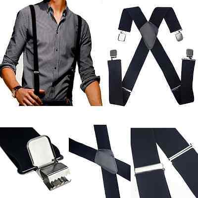 Black Mens Women Elastic Suspenders Leather Braces X-Back Adjustable Clip-on ONE