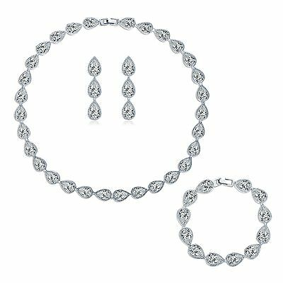Lady charms 18K Swarovski crystal wedding bridal jewellery necklace earring sets
