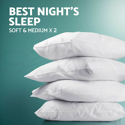 Family 4 Pack Bed Pillows Soft Medium Firm Cotton Cover 48X73CM Brand New