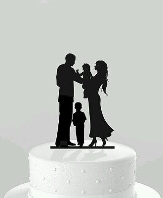 Our stunning silhouette Bride & Groom with baby & girl/boy Wedding cake Toppers