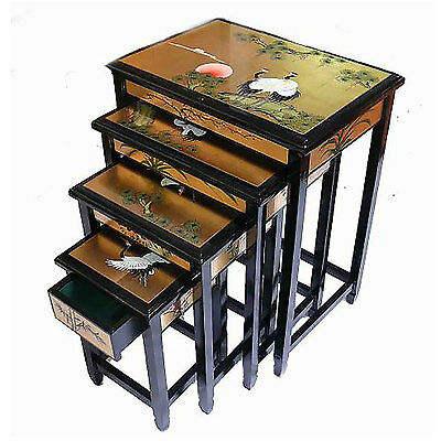 Hand Painted Gold Leaf With Cranes Nest Of Tables Oriental Furniture Chinese