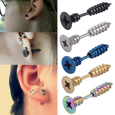 1PC Fashion Men Women Unisex Stainless Steel Whole Screw Stud Earring Punk RX