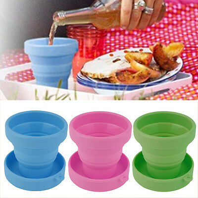 Portable Silicone Telescopic Drinking Collapsible Folding Cup Travel Camping RX