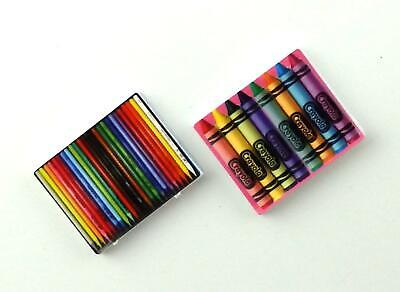 Dolls House Pencils & Crayons Sets Miniature Studio School Study Accessory