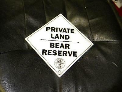 Tennessee Private Land Bear Reserve Wildlife Forest Dept Sign Original