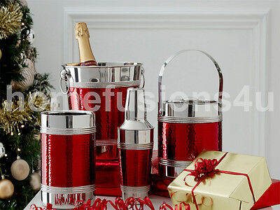 Red Band Hammered S/steel Champagne Ice Bucket Bottle Cooler Cocktail Shaker