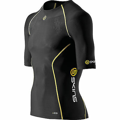 Skins A200 Men's Compression Short-sleeve Top Black/Yellow XL