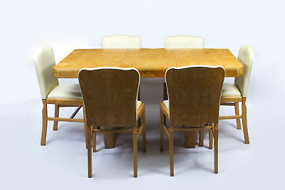 Antique Art Deco Birdseye Maple Dining Table & 6 Chairs