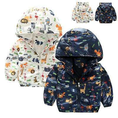 Kids Boys Waterproof Windbreak Animals Jacket Rain Coat Hooded Outerwear Clothes