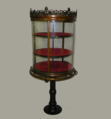 Antique Oak Crystal Curved Cylinder Shaped Country Store Display Showcase
