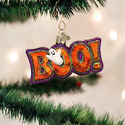 26077 Halloween Boo Sign Blown Glass Holiday Ornament Fall Spooky