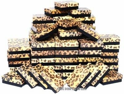 LOT OF 20 LEOPARD COTTON FILLED BOX JEWELRY GIFT BOXES EARRING BOX 3 1/4x2 1/4