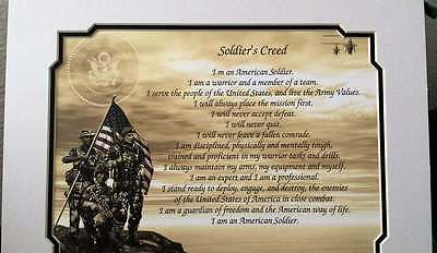 "Army Soldier's Creed with 11x14"" Mat Personalize with Name Rank Date Promotion"