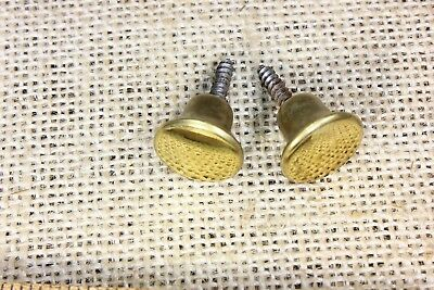 "TWO 5/8"" door knobs cabinet Drawer pulls polished brass NOS light tarnish specks"