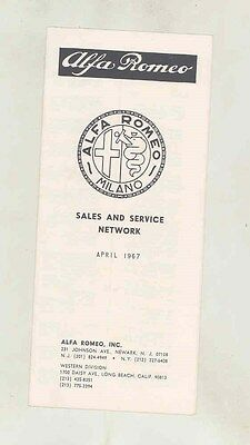 April 1967 Alfa Romeo US Dealer List Brochure ww2400