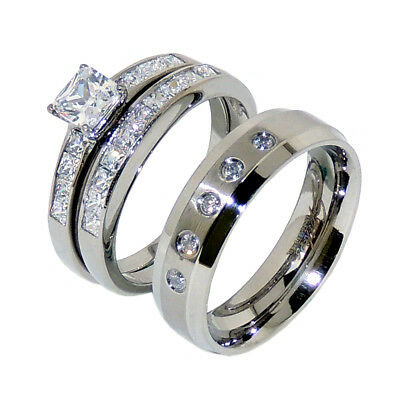 3 PCS Stainless Steel Hers Princess Cut CZ 2 Ring Set and His 5 Clear CZs Band