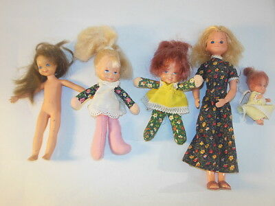 1F Lot Of 6 1970's Mattel SUNSHINE Family Dolls BABIES, And MORE!