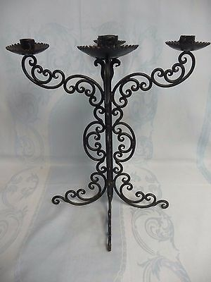 Ornate Vintage Four Arm Wrought Iron Candelabra