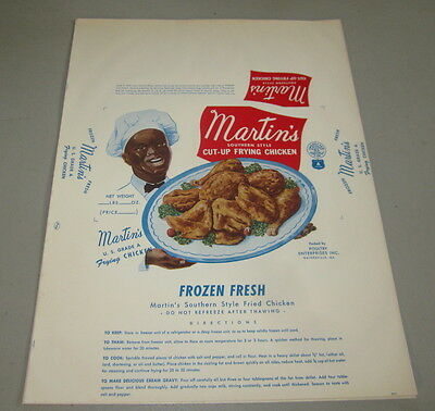 Old Vintage 1950's - Martin's Frying CHICKEN - BLACK Americana LABEL - FRIED