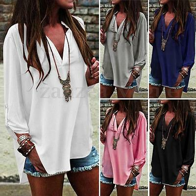 Women Long Sleeve Deep V Neck Tops Baggy Loose Casual Chiffon Shirt Blouse Plus