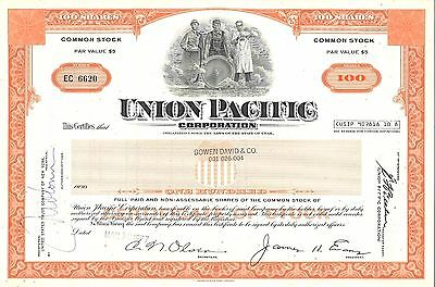 UNION PACIFIC CORPORATION Common Stock Certificate 100 Shares Dtd 03-10-1977
