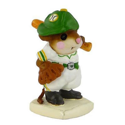 BATTER UP by Wee Forest Folk, WFF# MS-15, Green & Yellow A's Baseball Mouse